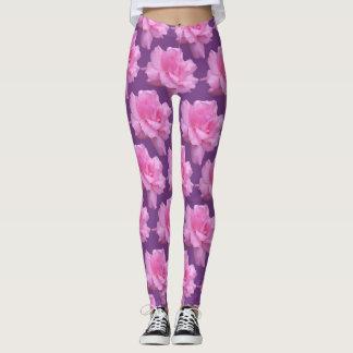 Rosa ros på purpurfärgad bakgrund leggings
