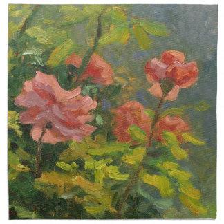 Rosa ros på solnedgången tygservett