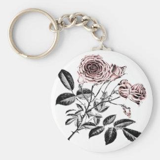 Rosa ros rund nyckelring