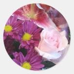 Rosa ros runda klistermärken