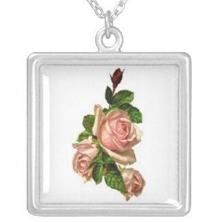 Rosa ros silverpläterat halsband