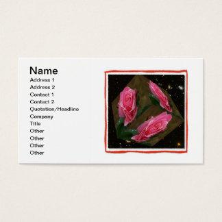 Rosa ros skära i tärningar utrymmevisitkort visitkort