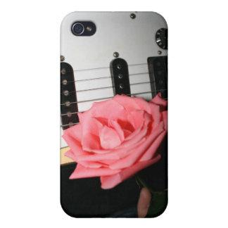 Rosa ros som gitarren förkroppsligar, stränger iPhone 4 cover