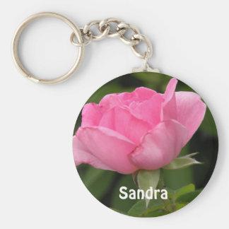 Rosa ros tillfogar din kända Keychain Rund Nyckelring