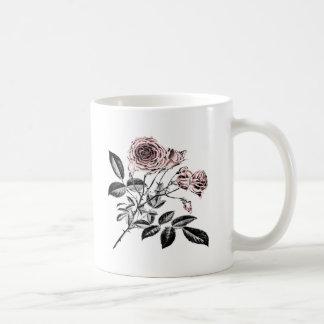 Rosa ros vit mugg