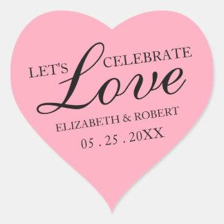 Rosa rosa för älsklinginbjudan för bröllop | hjärtformat klistermärke