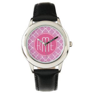 Rosa rosa Quatrefoil med den beställnings- Armbandsur