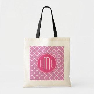 Rosa rosa Quatrefoil med den beställnings- monogra Tote Bag