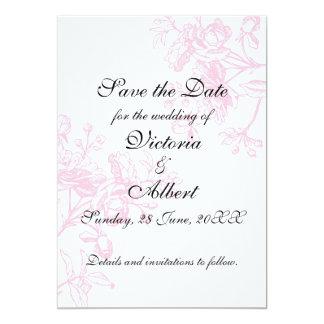 Rosa rosbröllopinbjudan 12,7 x 17,8 cm inbjudningskort