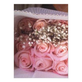 Rosa rosinbjudan 14 x 19,5 cm inbjudningskort