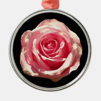 Rosa rosjulprydnad rund silverfärgad julgransprydnad