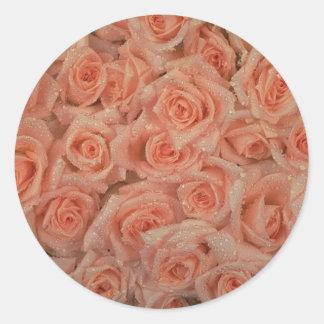 Rosa rosklistermärke runt klistermärke