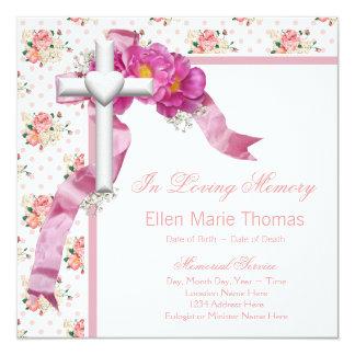 Rosa roskor, i att älska minnesminnesmärken fyrkantigt 13,3 cm inbjudningskort