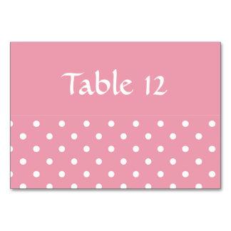 Rosa rosor och polkaen pricker bordkortmallen bordsnummer