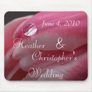 Rosa rosRaindropbröllop Musmattor