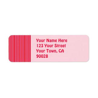 Rosa rött randigt mönster returadress etikett