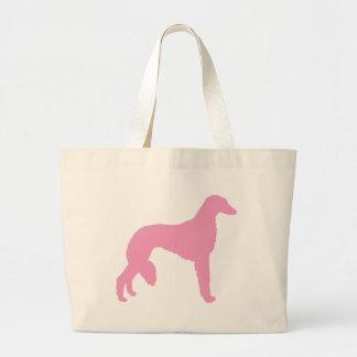 Rosa Saluki hund Tote Bags