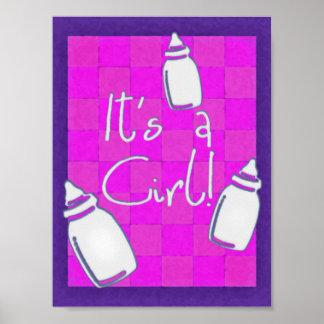 Rosa schackbrädefödelsemeddelande affisch