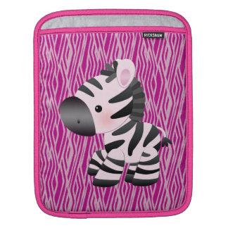 Rosa sebra & djur tryckiPad & laptop sleeve iPad Sleeve