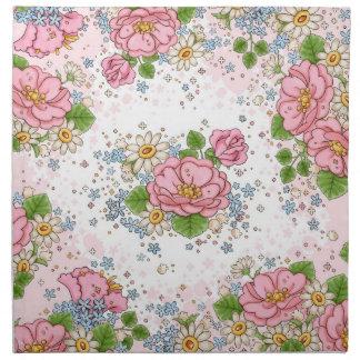 Rosa servettuppsättning för Tea (rosor) Tygservett