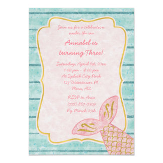 Rosa sjöjungfruinbjudan med guld- och Aquablått 12,7 X 17,8 Cm Inbjudningskort