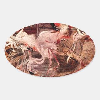 Rosa slott Ibis i Vesineten av Giovanni Boldin Ovalt Klistermärke