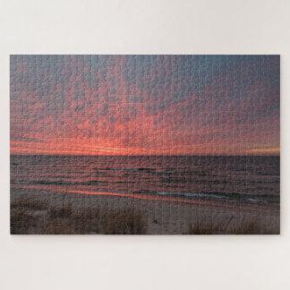 Rosa solnedgång i December på Lake Michigan Pussel