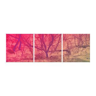 Rosa solnedgångträd för abstrakt konst canvastryck