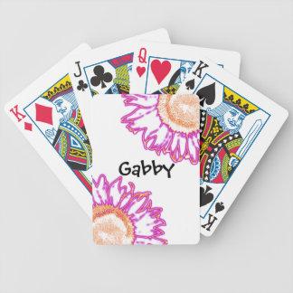 Rosa solrosor för personligneon som leker kort spelkort