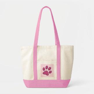 rosa sparkling katttasstryck - totot hänger lös tygkasse