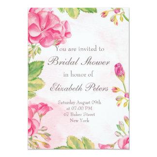 Rosa Summerflowers inbjudningskort för möhippan