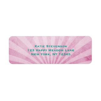 rosa sunrays med en sjaskig struktur returadress etikett