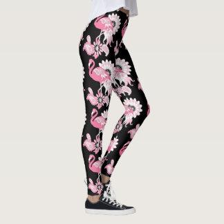 Rosa svart för coola för Flamingomönster Leggings