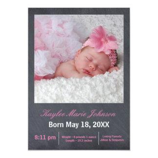 Rosa svart tavlafoto - födelsemeddelande 12,7 x 17,8 cm inbjudningskort