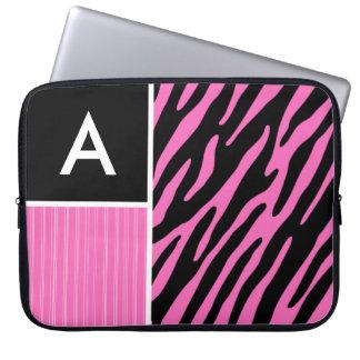 Rosa- & svartzebra ränder laptopskydd fodral