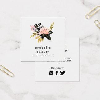 Rosa symboler för massmedia för social för guld- fyrkantigt visitkort