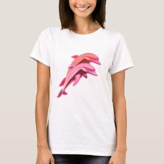Rosa T-tröja för delfindesigndamer T-shirt