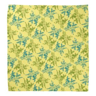 Rosa teckningBandana (blått och grönt på gult) Kerchief För Huvud