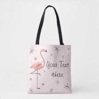 Rosa text för Flamingo all över toto Tygkasse