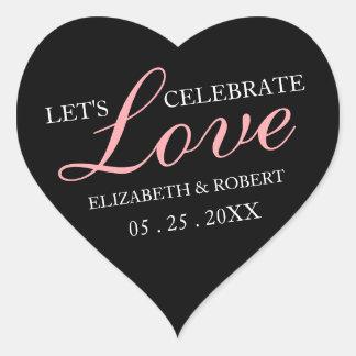Rosa text + Svart klistermärkear för Hjärtformat Klistermärke