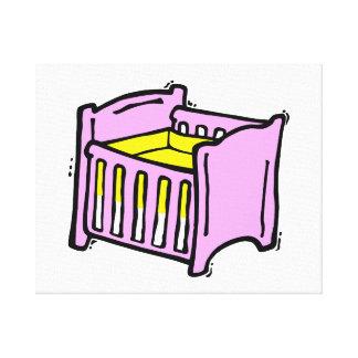 rosa themed grafisk gul madrass för bebislathund canvastryck