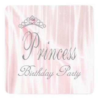 Rosa TiaraflickaPrincess födelsedagsfest Fyrkantigt 13,3 Cm Inbjudningskort