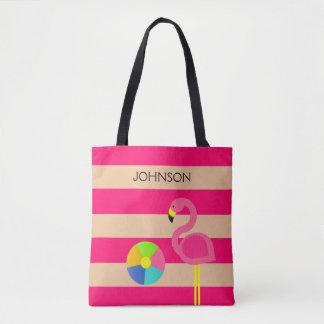 Rosa toto för Flamingopersonligstrand Tygkasse