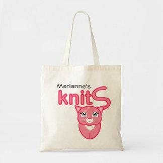 rosa toto för gåva för kattungeHANDARBETETILLFÖRSE Tote Bags