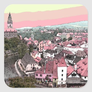 Rosa Town Fyrkantigt Klistermärke