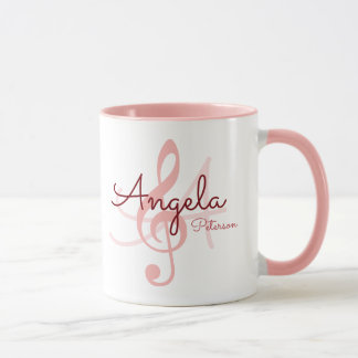 rosa trebleklav för monogram, musikmugg för henne mugg