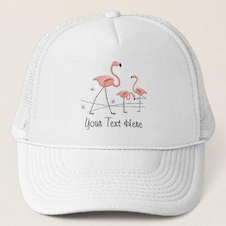 """Rosa Trio 2"""" för Flamingos text"""" grupptruckerkeps Truckerkeps"""