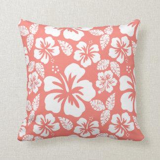 Rosa tropisk hibiskus för korall kudde