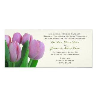 Rosa tulpan som gifta sig - från brud föräldrar 10,2 x 23,5 cm inbjudningskort