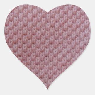 rosa tyg hjärtformat klistermärke